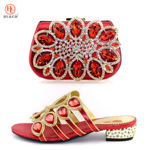 Ladies Shoes Low-Heels Rhinestone Party Italian Red Latest African Coral And with Bags