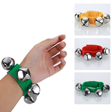 2pcs Musical Metal Jingle Hand Bell Bracelet Wrist Tambourine Fastener Tape Percussion Toy Instruments Part for Kids Children