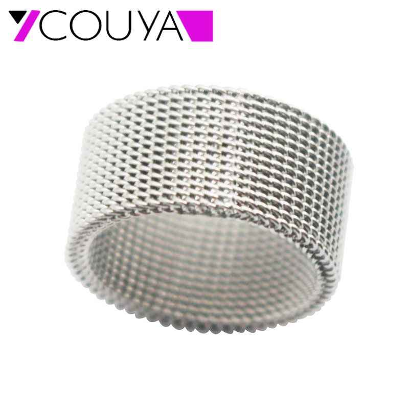2017 fashion 10mm Wide Stainless Steel Ring Titanium Couple Rings Deformable Mesh Ring O Men Jewelry Wedding Rings Punk