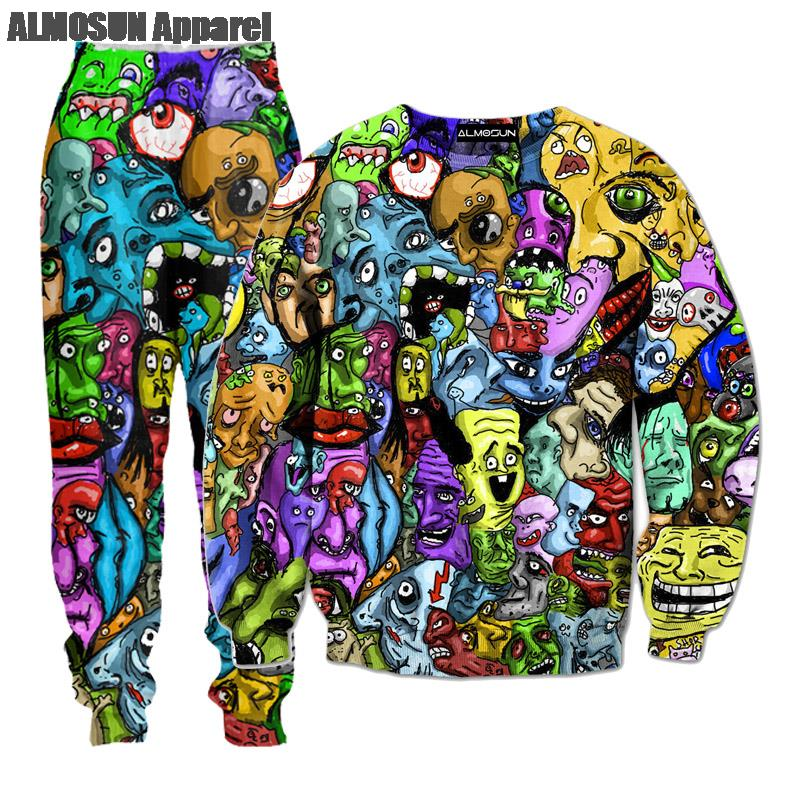 ALMOSUN Cartoon Funny Trippy Faces Collage 3D All Over Print Tracksuits Sweatshirts Drawstring Pants Hipster Streetwear Unisex