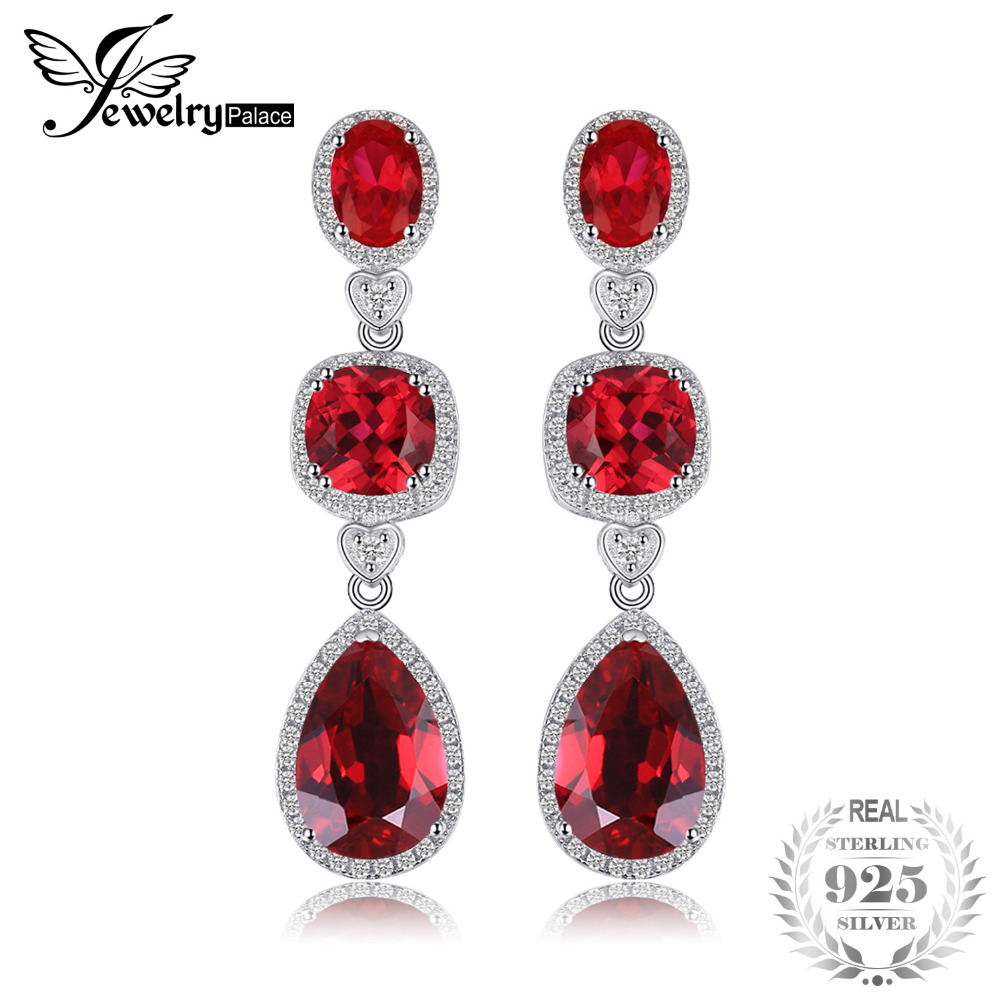 JewelryPalace 15ct Women Fine Gem Pigeon Blood Red Created Ruby Drop Earrings Dangle Set Real Pure Solid 925 Sterling Silver цена