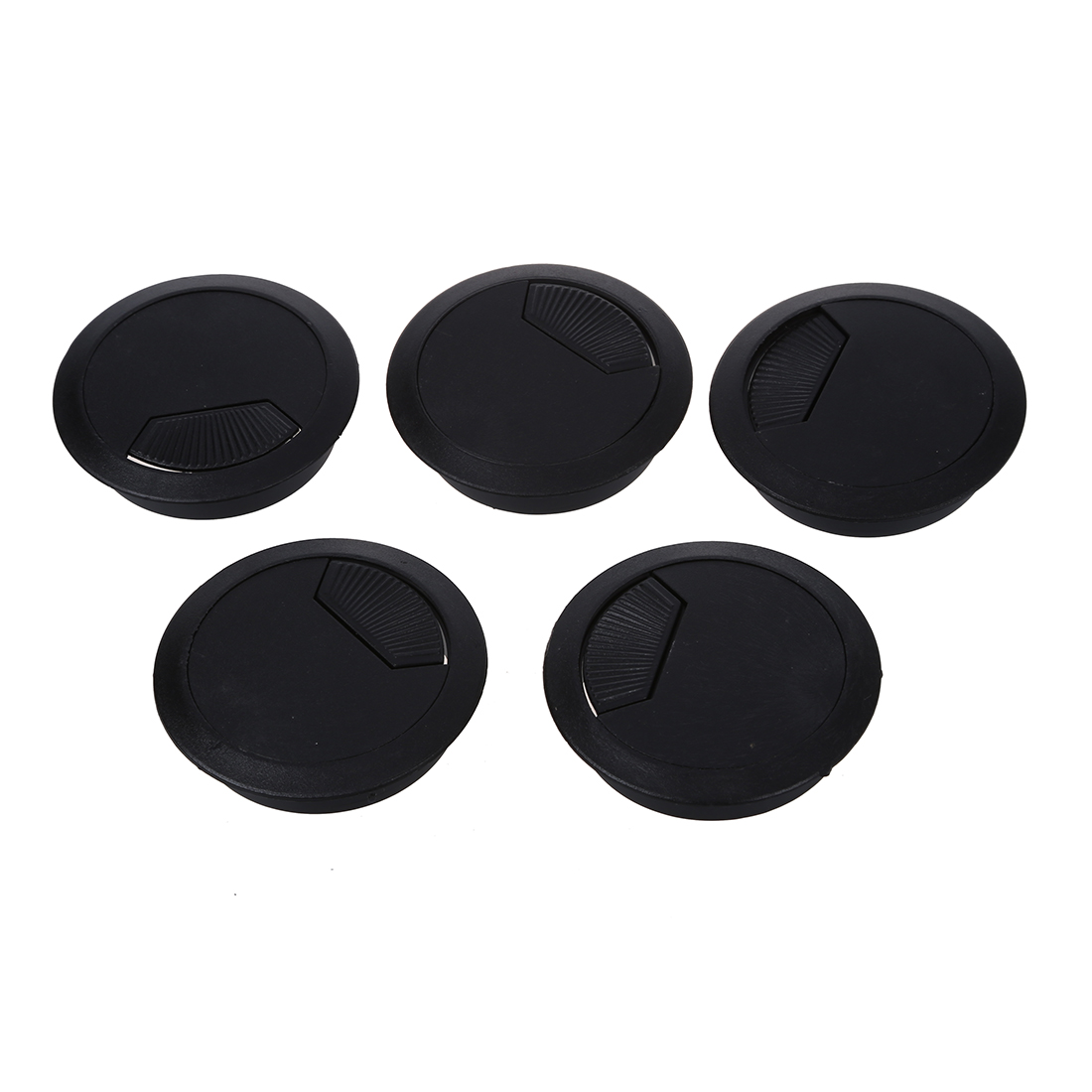 5 Pcs Home Office Desk Table Computer 60mm Cable Cord Grommet Hole Black tfbc black 60mm round grommet cable hole cover for computer desk 5 pcs