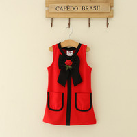 Summer Mom and Baby Matching Clothes Flower Embroidery Bow Mother Daughter Dresses Sleeveless Princess Dress Family Look Outfits