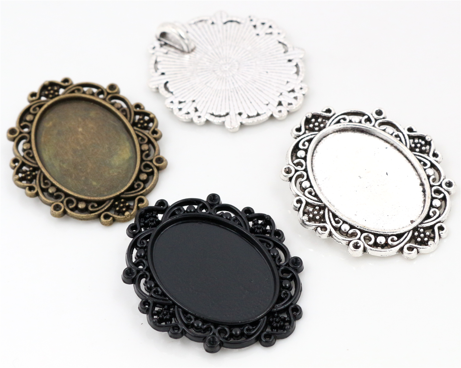 4pcs/Lot Fit 18x25mm Inner Size 3 Colors Plated Flowers Style Cameo Cabochon Base Setting Charms Pendant necklace findings4pcs/Lot Fit 18x25mm Inner Size 3 Colors Plated Flowers Style Cameo Cabochon Base Setting Charms Pendant necklace findings