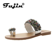 цена на Fujin Brand Sandalias Mujer 2019 New Fashion Luxurious Crystal for Sexy Ladies Bling Bling Casual Shoes Beach Holiday