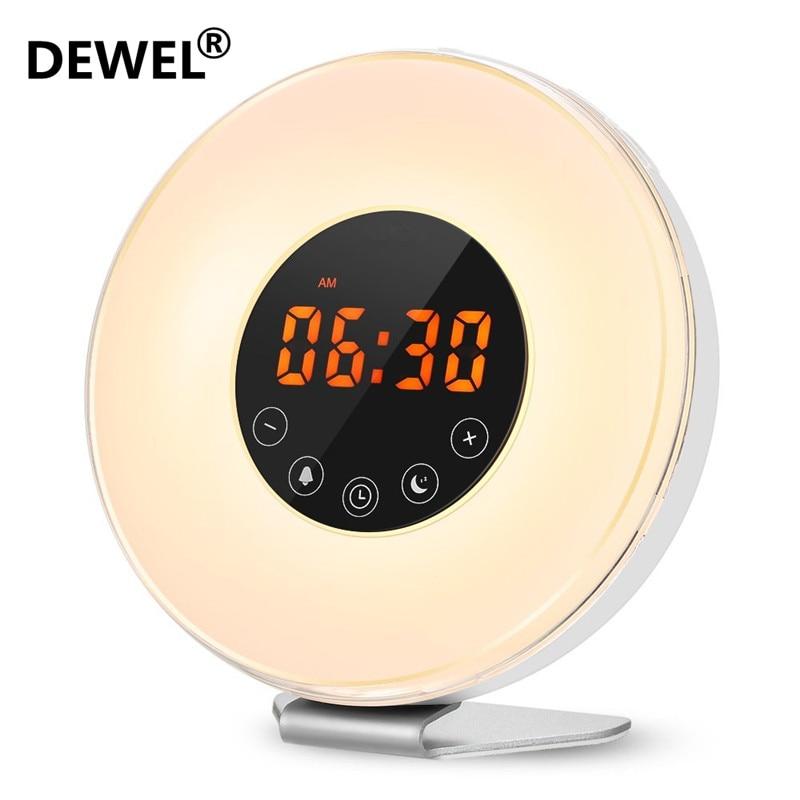 DEWEL LED Digital Wecker Sonnenaufgang Aufwachen Licht Simulation Nacht Lampe Nacht Licht Snooze/Sunset FM Radio Speicher funktion