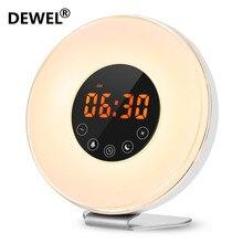 DEWEL LED del reloj despertador Digital amanecer despierta Luz de lámpara luz de la noche de Snooze/puesta de sol FM de memoria de Radio función