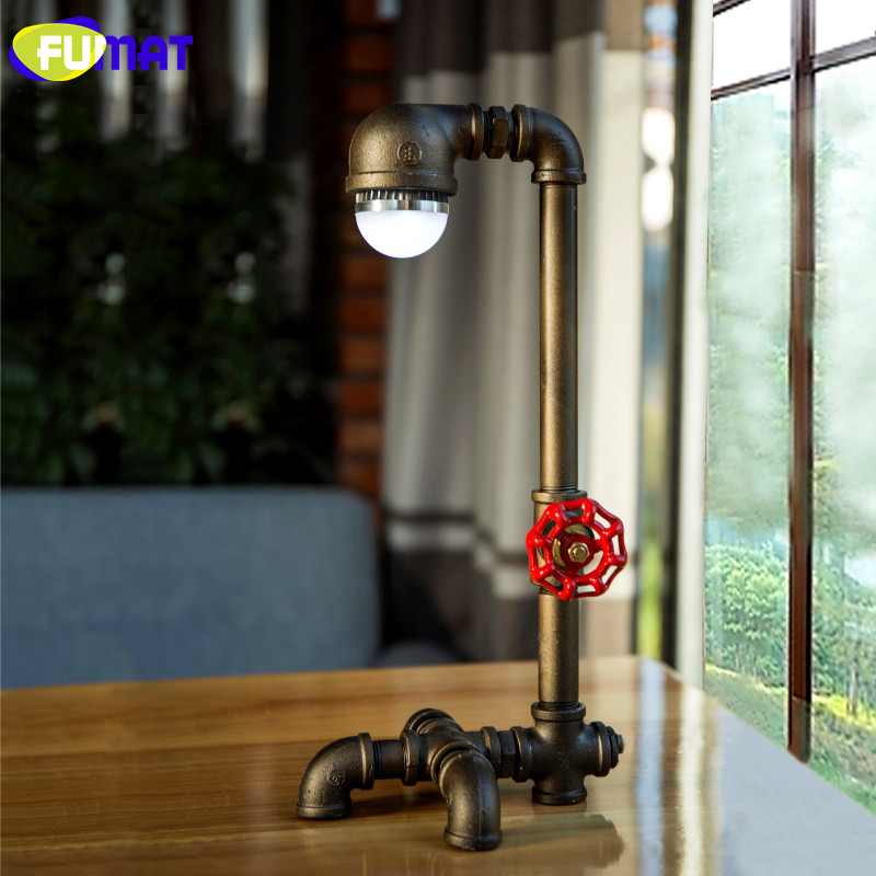 FUMAT Vintage Office Table Lamp American Industrial Retro Iron Pipe Desk Lamps Simple Study Reading Table Light E27 LED Bulb art deco industrial iron butterfly retro water pipe table lamp e27 desk lights reading lamps night light for living room bedroom