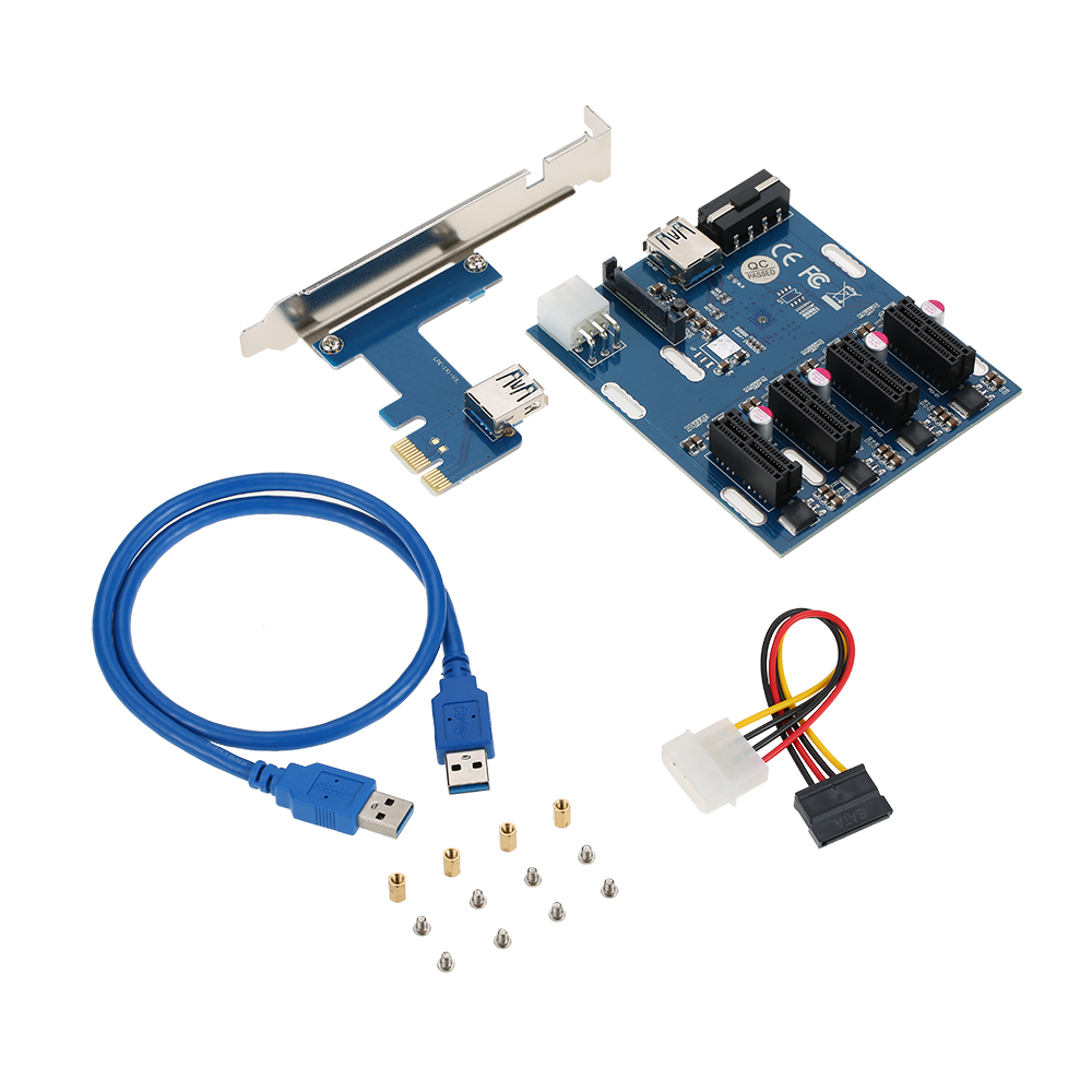 High Quality PCI-E 1X Expansion Kit 1 to 4 Slots Switch Multiplier Hub Riser Card Adapter with USB 3.0 Cable Pcie Mining Modules kitlee40100quar4210 value kit survivor tyvek expansion mailer quar4210 and lee ultimate stamp dispenser lee40100