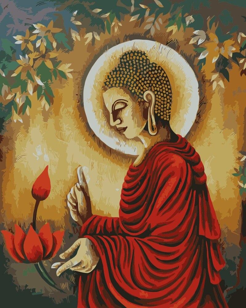 Peinture De Bouddha Indien Peinture Du Seigneur Peinture Par Numeros Peinte A La Main Coloriage Par Numeros Sur Toile Pour Decor De Salon Aliexpress