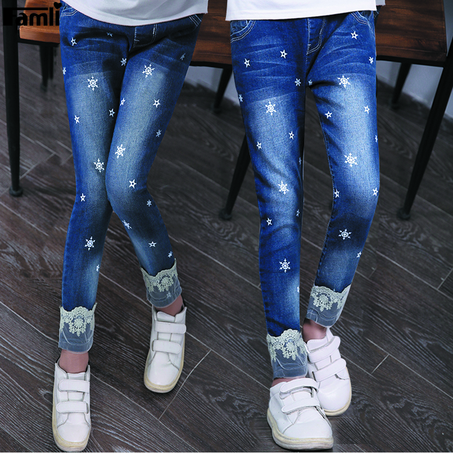 Famli 4Y-14Y Teen Girls Jeans Kids Girl Spring Autumn Casual Skinny Denim Pant Children Solid Pencil Pants 8 10 12 14 new thick warm winter jeans women skinny stretched denim jean pant plus size casual office lady pencil pants cheap clothes xxxxl