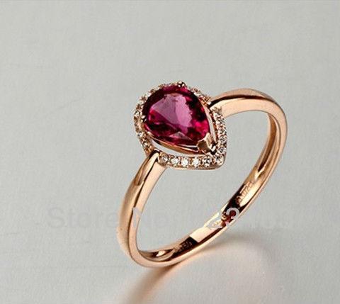 Красивые украшения натуральный кровавый красный рубин кольцо твердое 14CT розовое золото