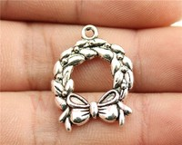 WYSIWYG 6pcs 25*19mm Vintage Antique Silver Color Charms