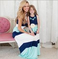 Colete Listrado Vestido Longo Vestido Vestido de Mãe e Filha Família Set Família Roupas Combinando Azul Do Vestido Do Bebê Da Menina do Algodão 3XL XXS