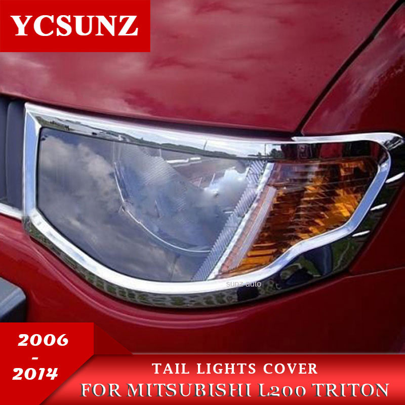 chrome headlights cover accessories For Mitsubishi L200 Triton 2006 2007 2008 2009 2010
