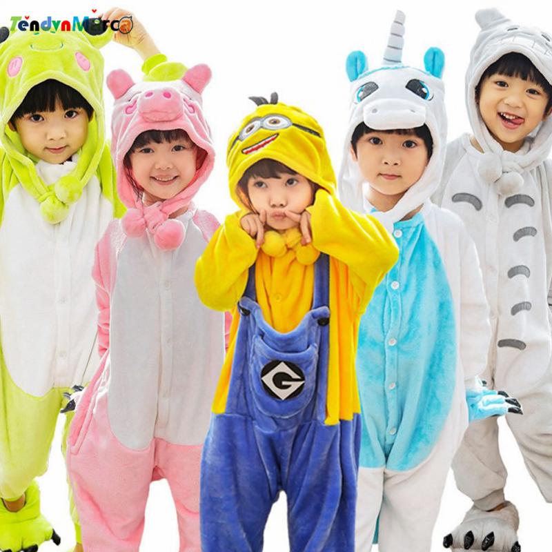 Childrens Flannel Pajamas Sets Baby Boys Girls Onesies Cosplay Sleepwear Panda Unicorn Children Household Jumpsuits Clothes New