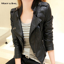 Fashion Autumn Punk Short Women Leather Jacket  Motorcycle Double Turn Down Collar Zipper Rivet Black S-2XL Coat C690919H