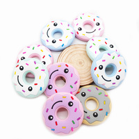 Chenkai 10PCS Silicone Smile Donut Baby Teether BPA Free Baby Pacifier Chain Pendant Accessories Food Grade Nursing Gifts