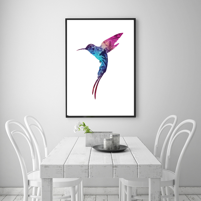 Nordic Colorful Hummingbird Abstract Flower Poster Canvas Print Art  Painting Wall Art Picture Modern Home Decor