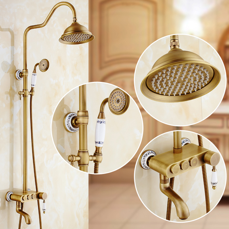Wall Mounted Bathroom Shower Water Taps with Hot Cold Water 8 Rainfall Shower Head Antique