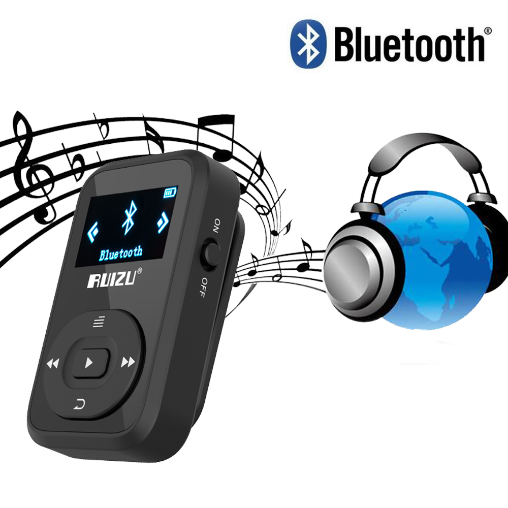 Mini Clip MP3 RUIZU X26 Reproductor de MP3 Bluetooth 8GB Deporte Reproductor de música Mp3 Grabador Radio FM Soporte para tarjeta SD reproductor de música