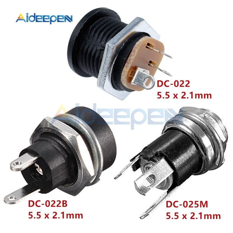 10Pcs/lot DC-022 DC-022B DC-025 DC-025M 5.5 X 2.1mm 2 Pin 3 Pin DC Power Socket Power Female Plug Panel Mount 5.5*2.1mm