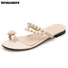 TINGHON Women PU Contracted Flats Apricot Black Round Toe Slip-on Casual Solid String Bead Womens Shoes Basic Size 35-40