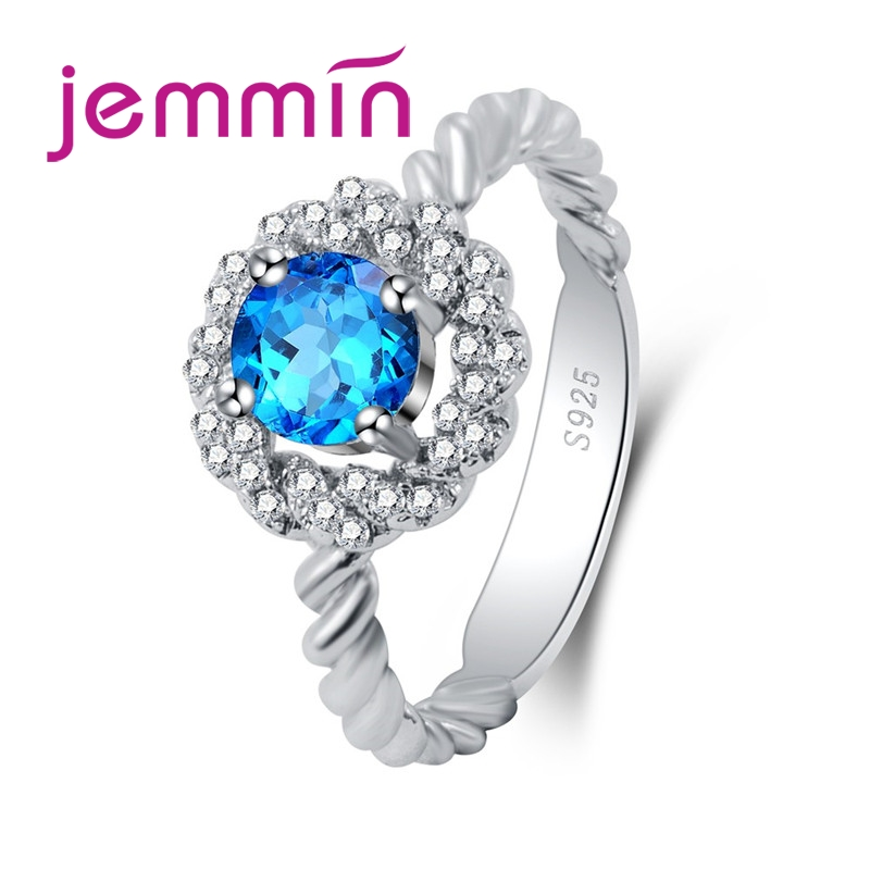 Generous New Round Cut Big Blue & White CZ 925 Sterling Silver Ring Gorgeous Perfect Elaborate Lovers' Jewelry Wholesale