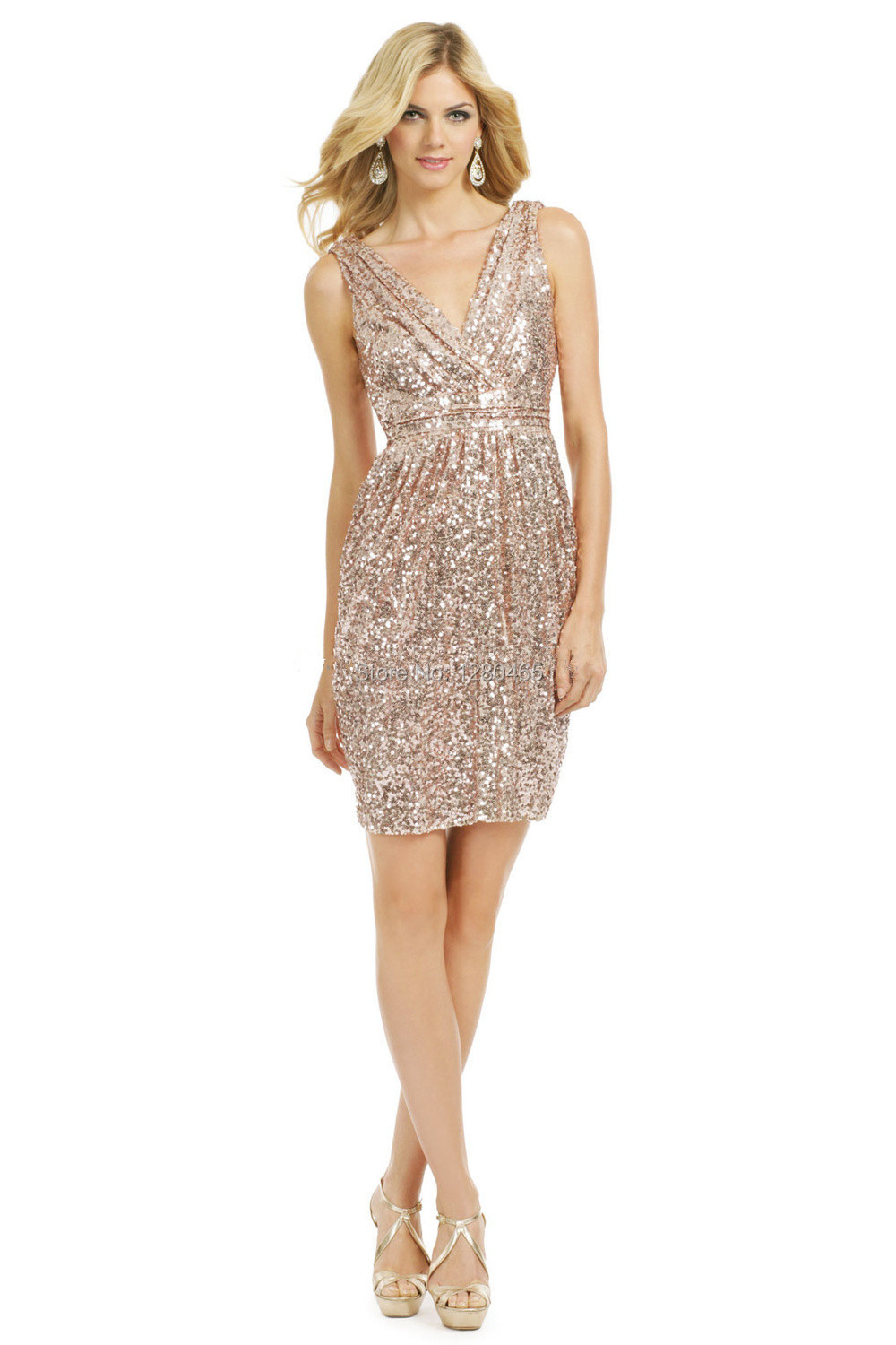 Short Sparkly Gold Sequin Bridesmaid Dress V Neck And Back