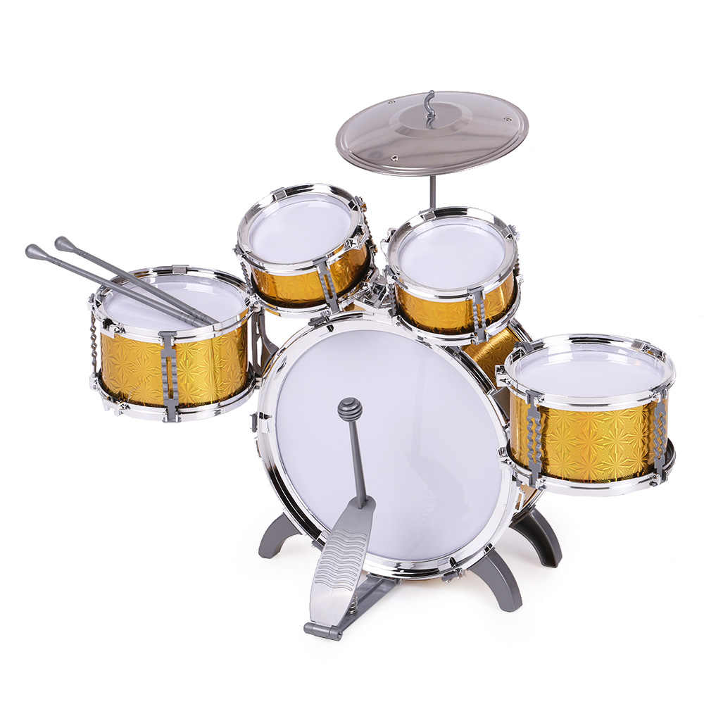 Children Toys Kids Drum Set Musical Instrument Toy 5 Drums with Small Cymbal Stool Drum Stick Music Toys for Children 2018 Gift