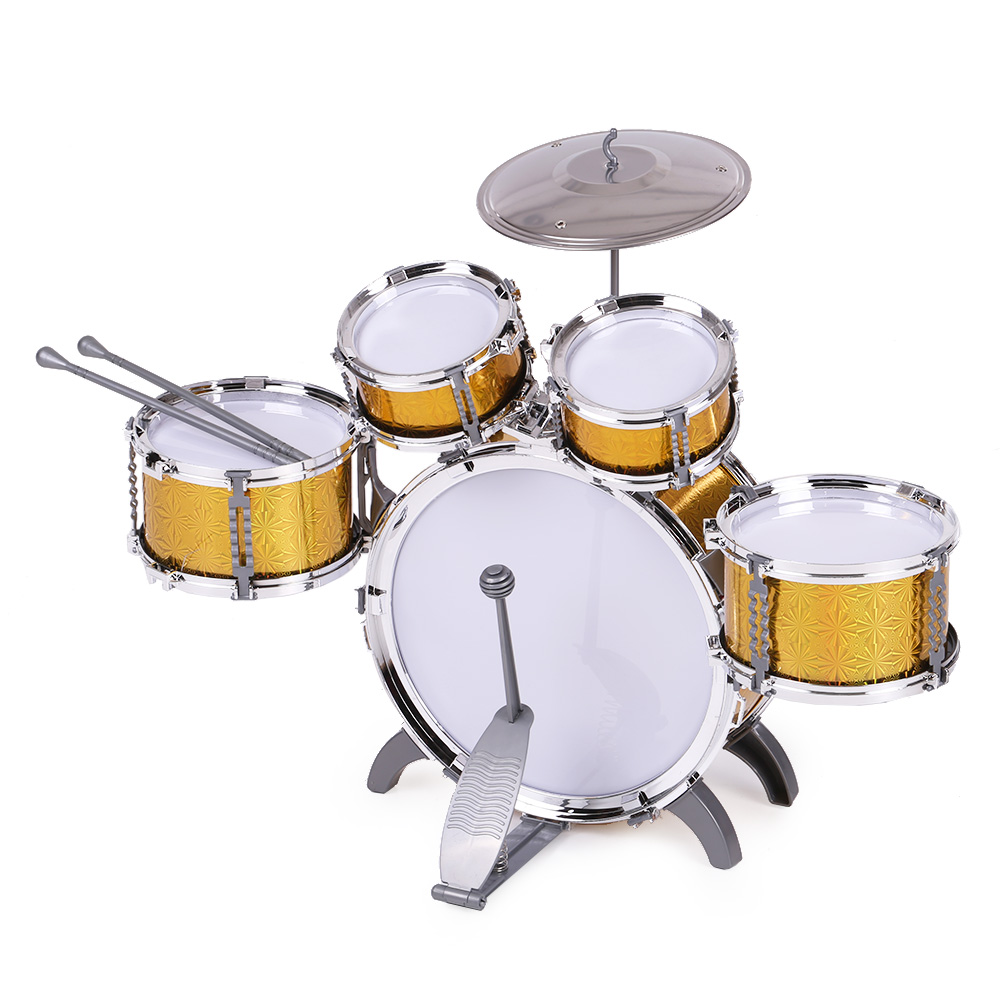 Image 2 - Children Toys Kids Drum Set Musical Instrument Toy 5 Drums with Small Cymbal Stool Drum Stick Music Toys for Children 2018 Gift-in Toy Musical Instrument from Toys & Hobbies