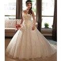 Vestido De Noiva 2016 lujo balón Vestido De boda Vestido De novia barrer De tren apliques Vestido De boda Robe De mariage fábrica