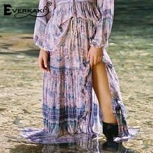 Everkaki Boho Gypsy Print Long Skirt Women Cotton Elastic Waist Sashes Bottoms Lilac Bohemian Femme 2019 Spring Summer New
