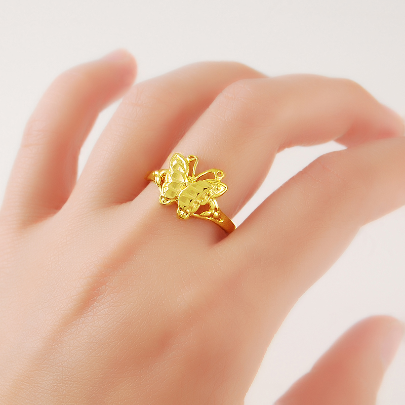 24K Pure Gold Vacuum Cocktail Ring Elegant Lovely Cute Butterfly Popular Gold Color Finger Ring For Women Ladies Girls Party