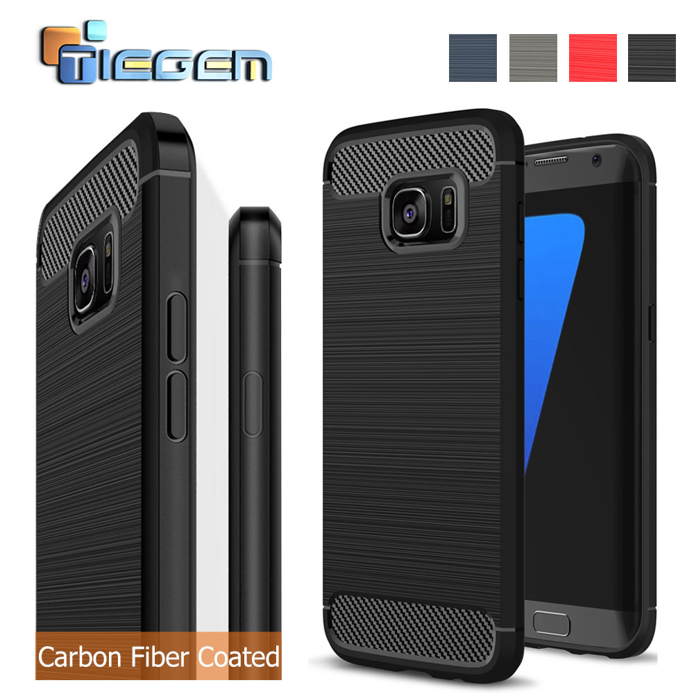 Luxury Silicone + TPU Armor Carbon Fiber Brushed Cases For Samsung Galaxy <font><b>S7</b></font> <font><b>S7</b></font> <font><b>Edge</b></font> S6 S6 <font><b>Edge</b></font> Soft Cover <font><b>Phone</b></font> Accessories