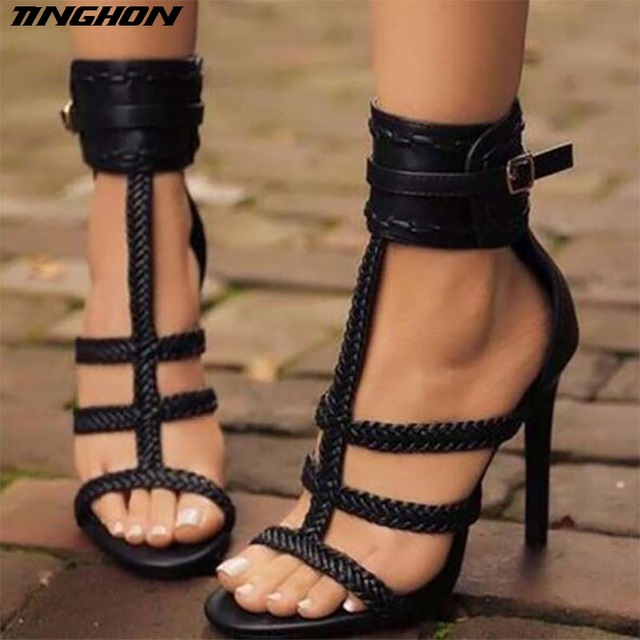 TINGHON Fashion Summer Sexy PU Women Sandals Thin High Heels 11 CM Gladiator  Bandage Cross Tied Party Shoes ef6ee2c60eb8