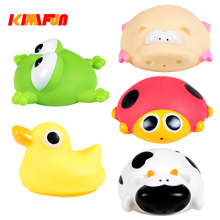 KIMIFUN 1pcs Cute Animals Floating Squeeze Sounding Baby Bath Toys Soft Rubber Kids Children Swimming pool Toy Frog Baby Shower
