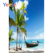Yeele Modern Simple Seaside Boats Landscape Beach Photography Backdrops Tropical Trees Photographic Backgrounds For Photo Studio