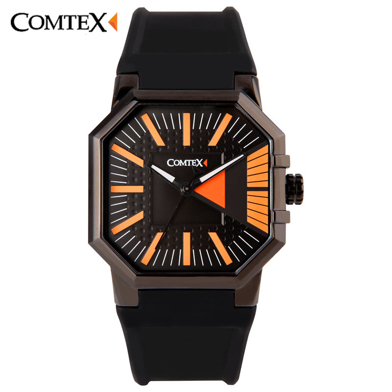 ФОТО Comtex Brand Stock Men Quartz Watches Boy Casual Fashion Sport Watch Casual Waterproof  Black Silicone Cool Watches