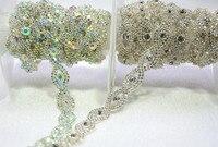 5 yards/lot 1.5 cm diamante di cristallo del rhinestone AB trim tono argento wedding cristallo fascia cintura banding accessori per l'abbigliamento