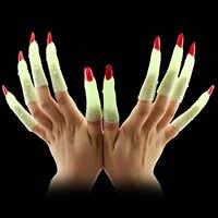 10 plástico luminoso bruxa zumbi dedo unhas falsas brilho no escuro vampiro unhas brinquedo para a festa de halloween reuniões carnavais