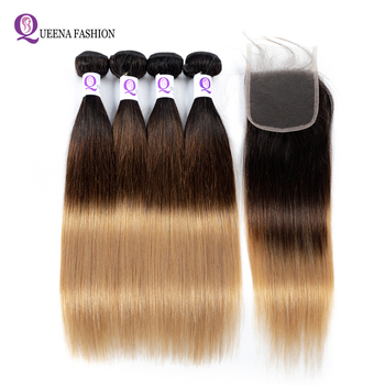 Ombre Bundles With Closure Ombre Straight Human Hair Bundles With Closure Dark Roots 1b/4/27 Three Tone Ombre Brazilian Hair фото