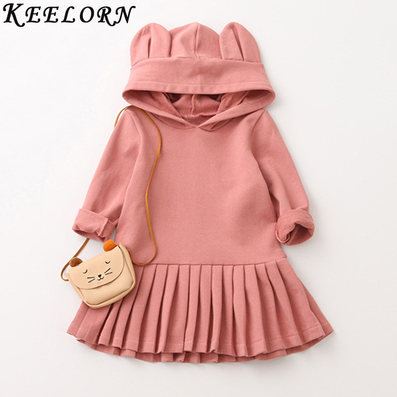 Keelorn Girls Dress Casual Style Girls Clothes Rabbit Ears Hooded Ruched Girls Dresses baby girl dress 2017 Autumn Kids Clothes