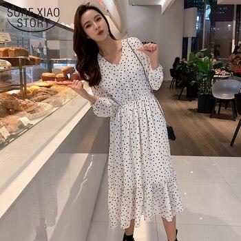 7d25507745b69f6 Product Offer. Женский топ и шифоновое платье средней длины 2019 весеннее  модное милое женское платье с длинным рукавом ...