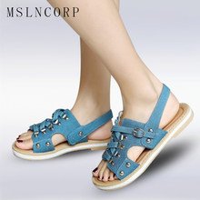 3372f24a67b3 Plus Size 34-43 New Fashion casual Summer Women Denim Sandals Jeans Rivet  Flats Gladiator Comfortable Buckle Girls Shoes mujer