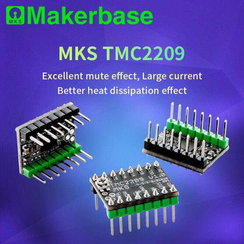 Makerbase mks tmc2209 2209 peças de impressora stepstick driver motor passo 3d 2.5a uart ultra silencioso para sgen_l gen_l robin nano