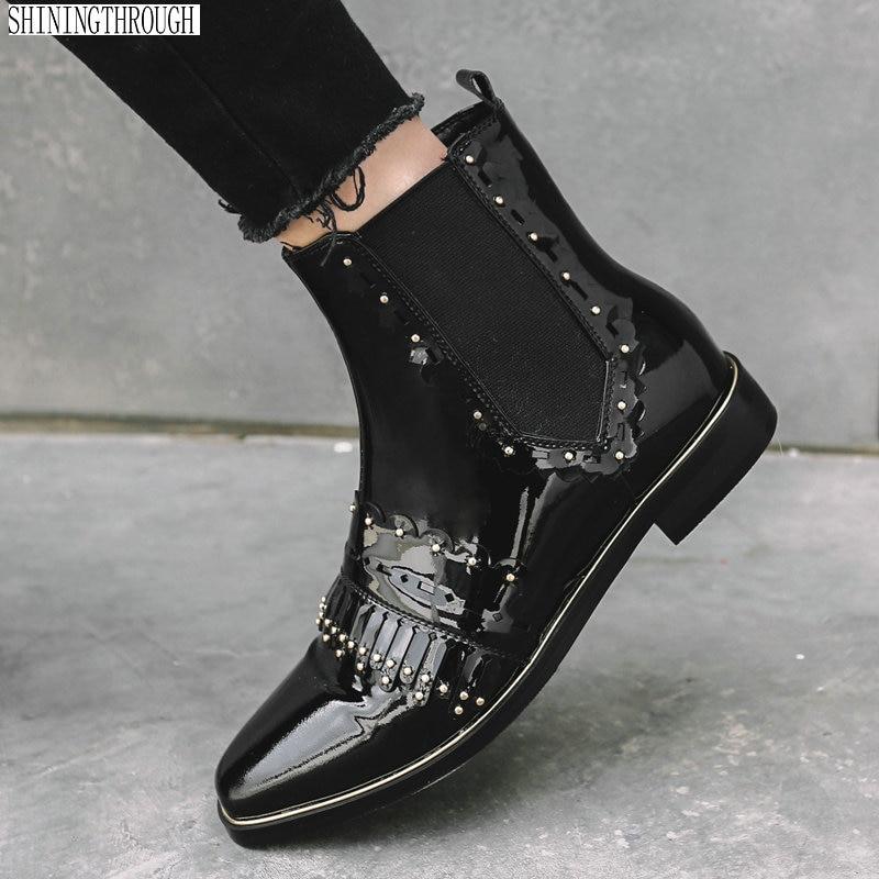 Tassel Occidentales Cuadrados rojo Botas De Tamaño Cuero Tobillo Negro Bajos Zapatos Negro Genuino Tacones Casual Mujer Nuevas 42 Para Rojo qvz7wqHn