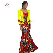 BRW 2017 Novo Tamanho Maix Vestido Tradicional Casuais Vestidos Longos Vestido Dashiki Africano WY1191 África Cera de Impressão Roupas de Manga Longa