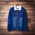 2016 Men'S Winter Denim Jacket Male Wool Lining Plus Thick Velvet Demin Jacket Coat Men Fashion Casual Brand Clothing