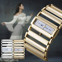 Trendy Unique Women Bangle Wristwatch Wide Alloy Hollow Band Quartz Analog Rectangle Square Dial Watches For